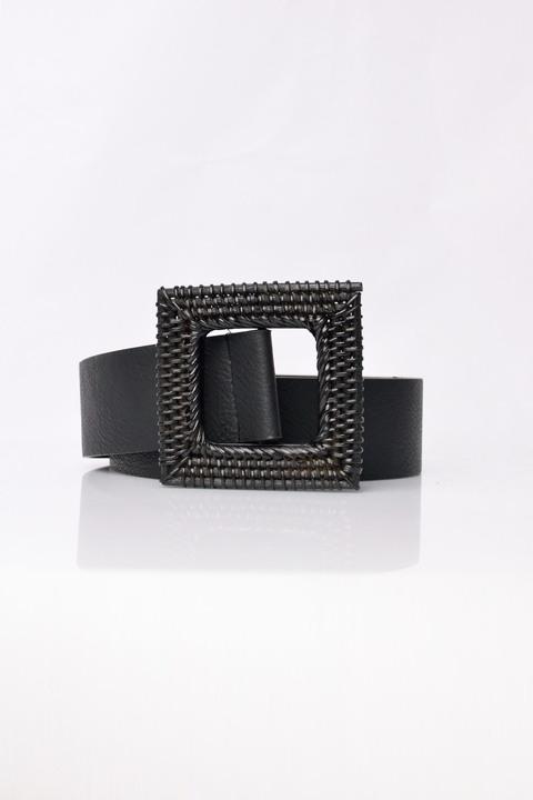 Γυναικεία ζώνη με τοκά τύπου πλεκτό - Μαύρο