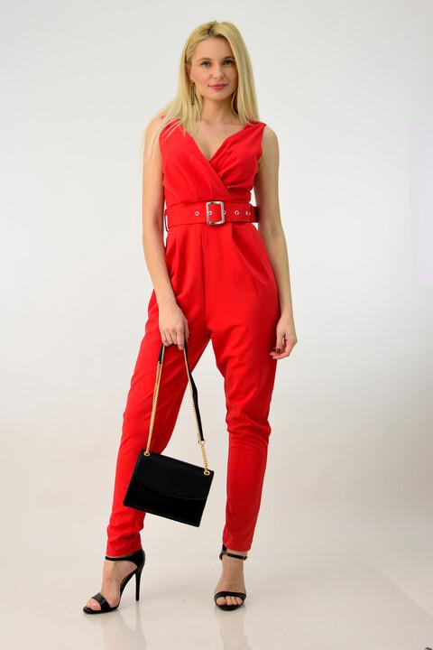 Ολόσωμη φόρμα κρουαζέ με ζώνη - Κόκκινο