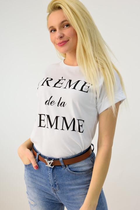 Γυναικείο μπλουζάκι με τύπωμα - Λευκό