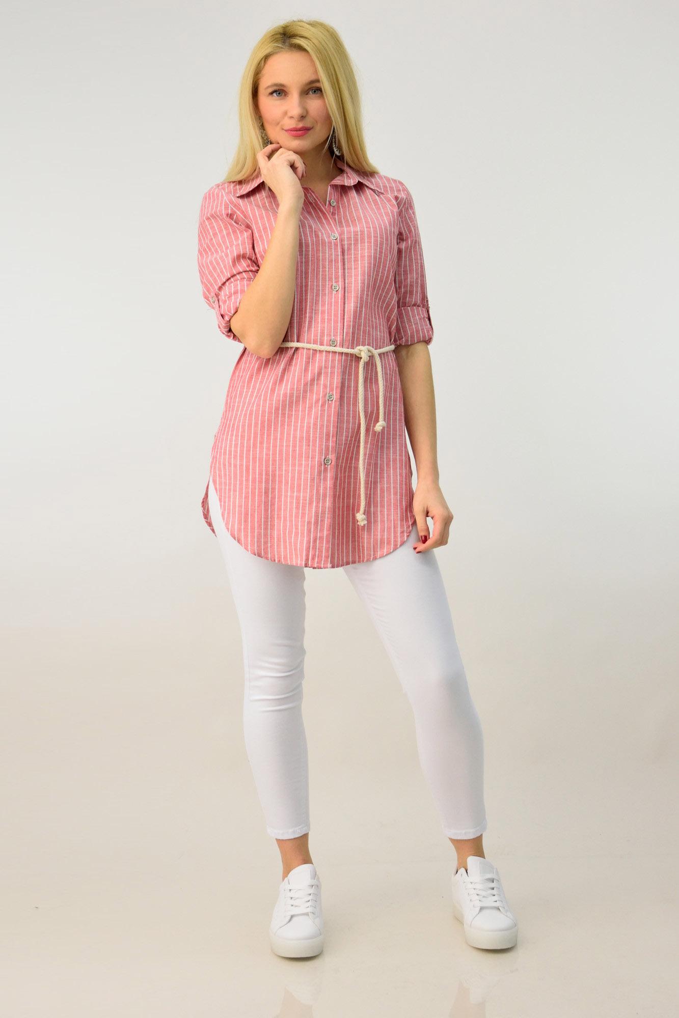 94d62a5d1f8c Ανοιξιάτικη πουκαμίσα ριγέ με ζώνη. Tap to expand
