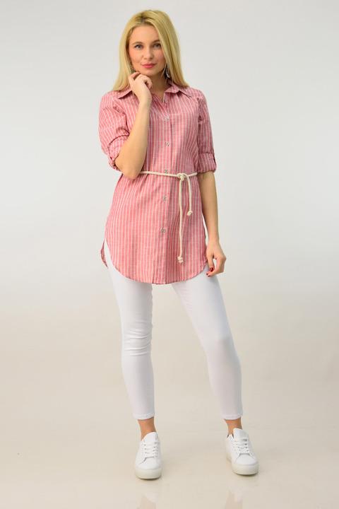 Ανοιξιάτικη πουκαμίσα ριγέ με ζώνη - Ροζ