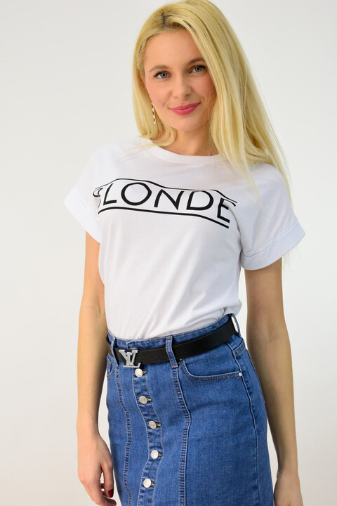 """Γυναικείο T-shirt με τύπωμα """"blonde"""" - Λευκό"""