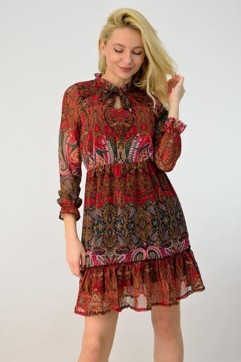 Γυναικείο αέρινο φόρεμα εμπριμέ - Κόκκινο
