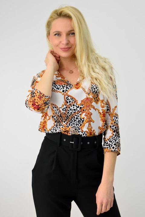 Γυναικείο πουκάμισο εμπριμέ - Λευκό