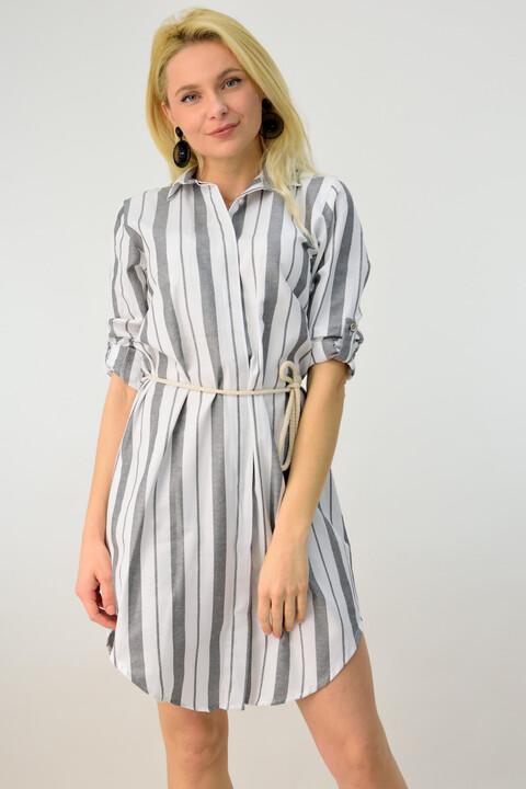 Φόρεμα ριγέ τύπου πουκάμισο με ζώνη - Λευκό