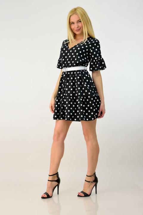 Γυναικείο φόρεμα μίνι πουά - Μαύρο