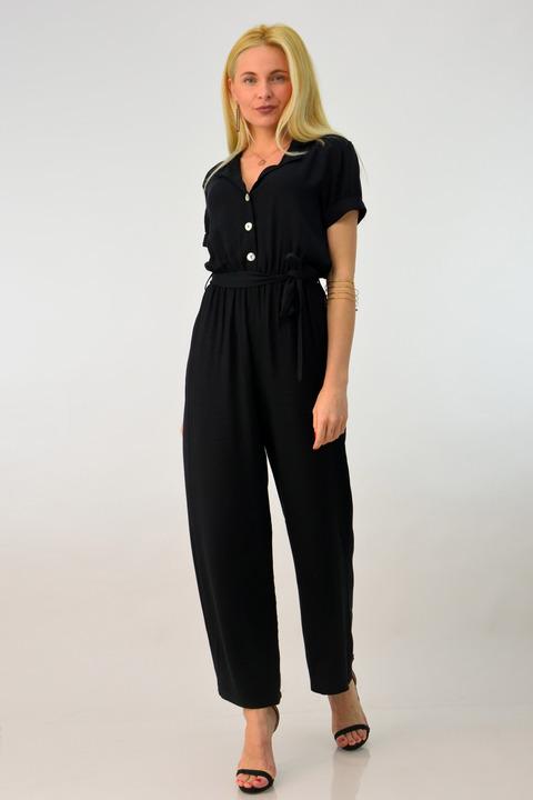 Γυναικεία ολόσωμη φόρμα με ζώνη - Μαύρο