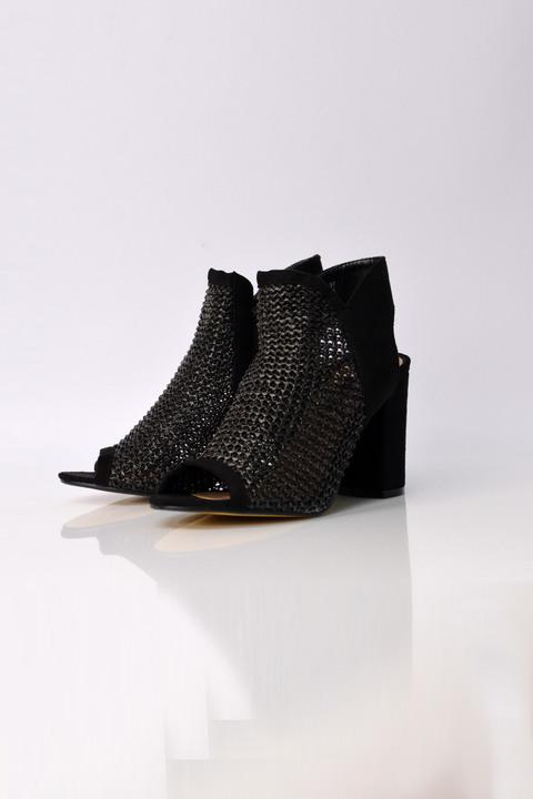 Ψηλοτάκουνα μαύρα πέδιλα peep toe  - Μαύρο