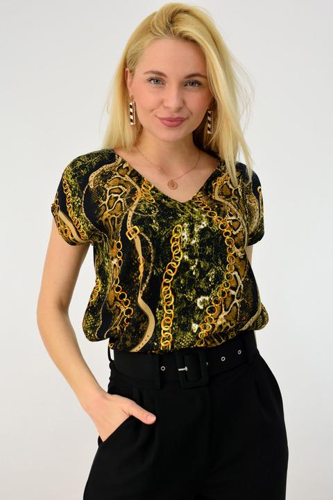 Γυναικείο πουκάμισο κοντομάνικο - Χρυσό