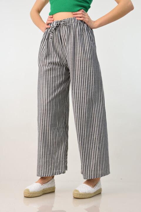 Παντελόνα λινή με ρίγα - Ανθρακί