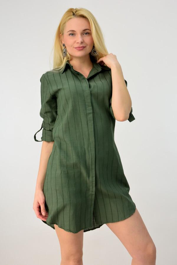 031a1f3155b9 Φόρεμα πουκάμισο με εξωτερικές ραφές - Χακί ...