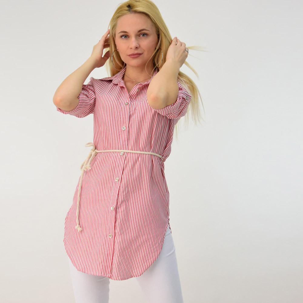 Ριγέ πουκάμισο με ζώνη
