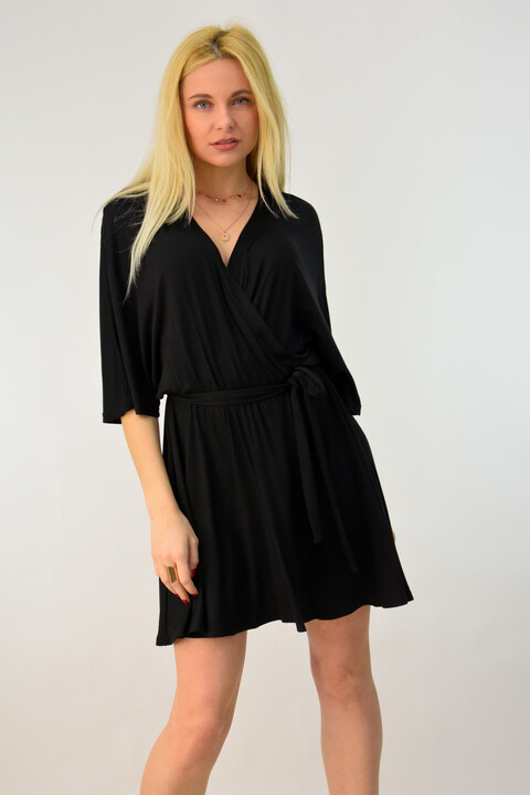 Κοντό κρουαζέ φόρεμα - Μαύρο