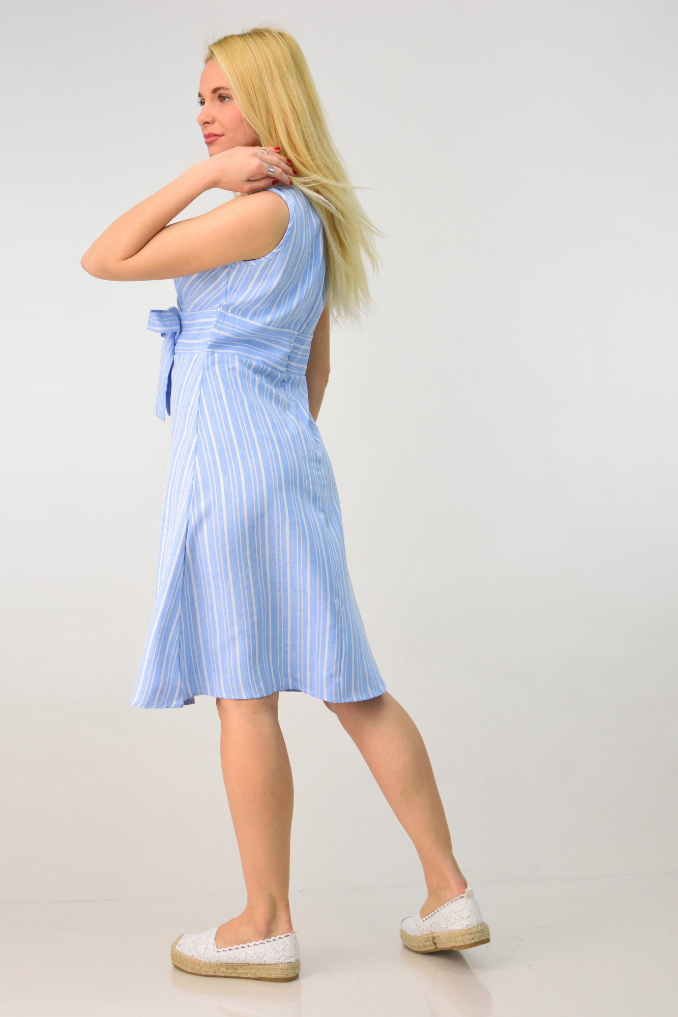 df2d71ae1e47 Κρουαζέ φόρεμα με όψη λινού. Tap to expand