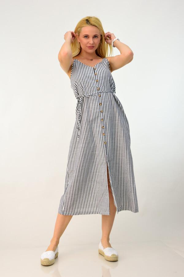 f127f2cc7ba6 Λινό ριγέ φόρεμα