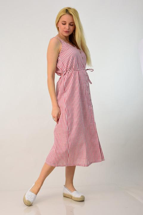 Λινό ριγέ φόρεμα - Κόκκινο