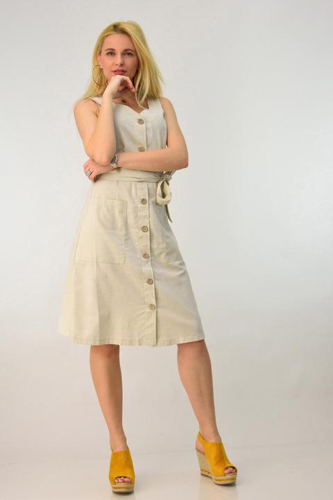 Λινό φόρεμα με ζώνη - Μπεζ