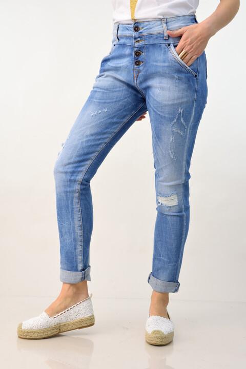 Γυναικείο παντελόνι τζιν με σκισίματα - Μπλε Τζιν