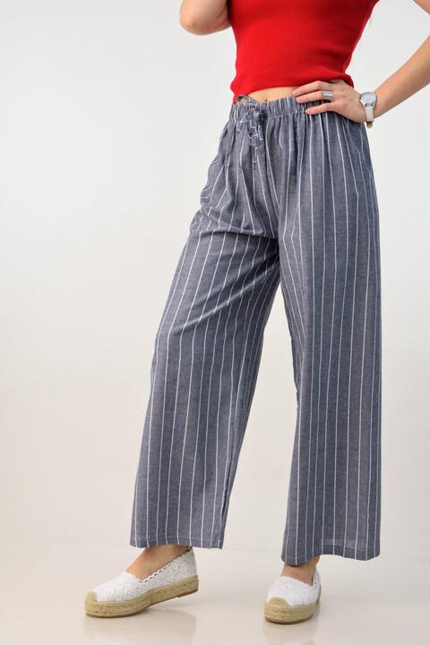 Γυναικεία παντελόνα τύπου λινή - Ανθρακί