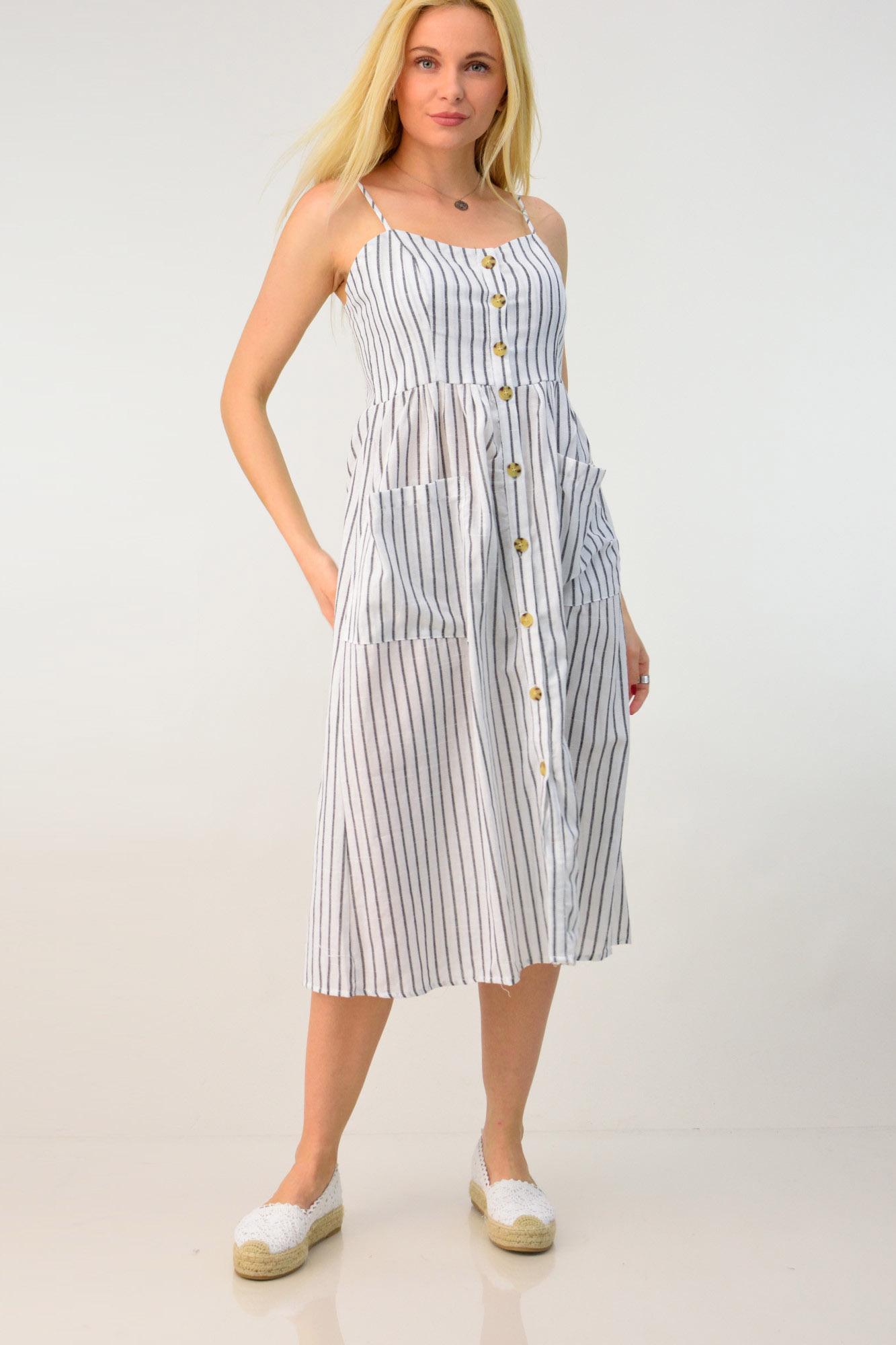 885ac6ffa245 Λινό φόρεμα midi. Tap to expand