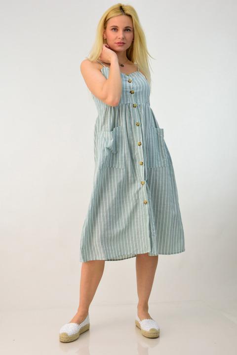 Λινό φόρεμα midi - Χακί