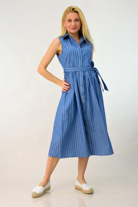 Φόρεμα τζιν ριγέ - Μπλε Τζιν