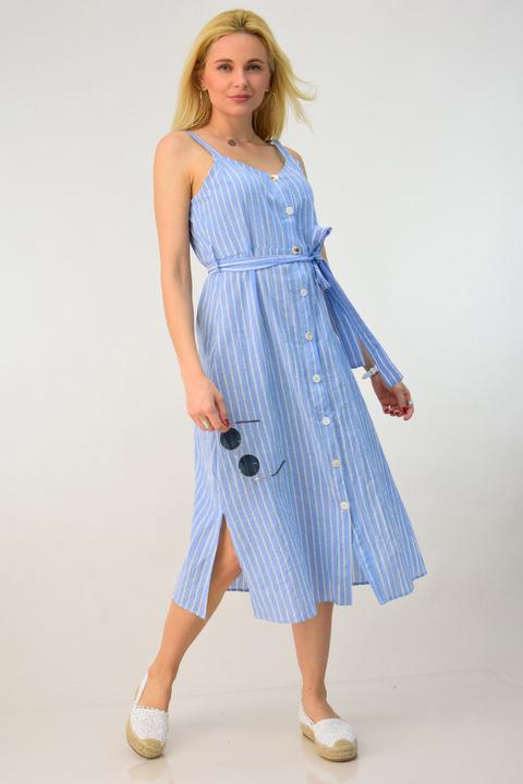 Φόρεμα λινό ριγέ τιράντα με ζώνη - Γαλάζιο