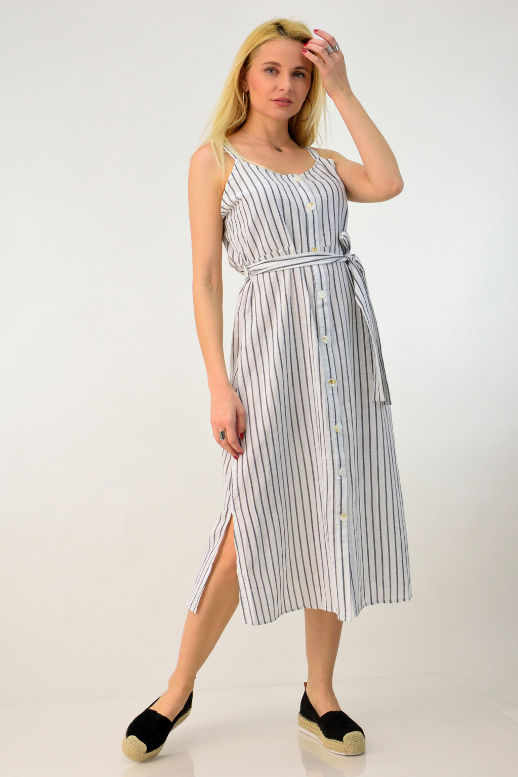 b13d5775e4db Φόρεμα λινό ριγέ τιράντα με ζώνη