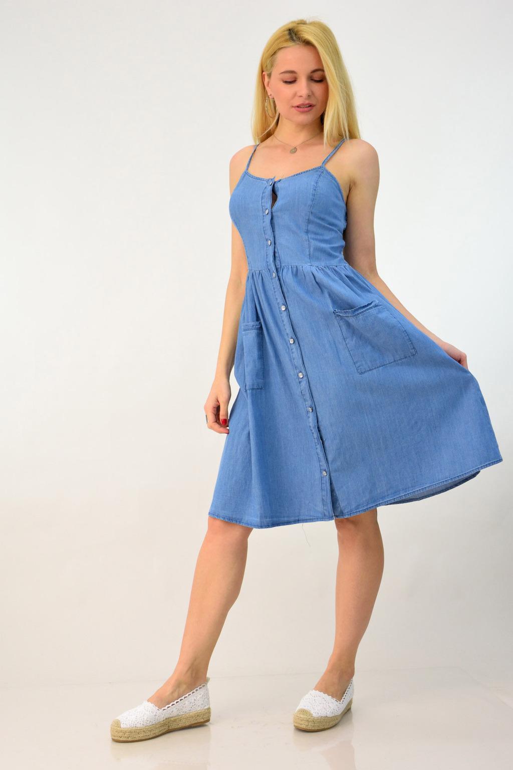 131d4db403e4 Φόρεμα τζιν με τιράντες | POTRE