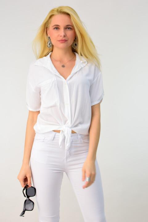 Αέρινο πουκάμισο με δέσιμο - Λευκό