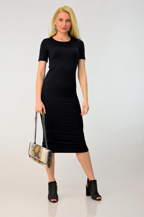 Γυναικείο φόρεμα εφαρμοστό midi - Μαύρο