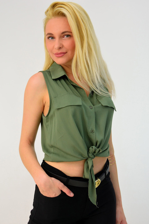 Γυναικείο τοπ πουκάμισο - Χακί