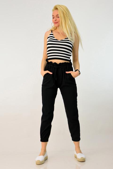 Ψηλόμεσο παντελόνι με ζώνη - Μαύρο