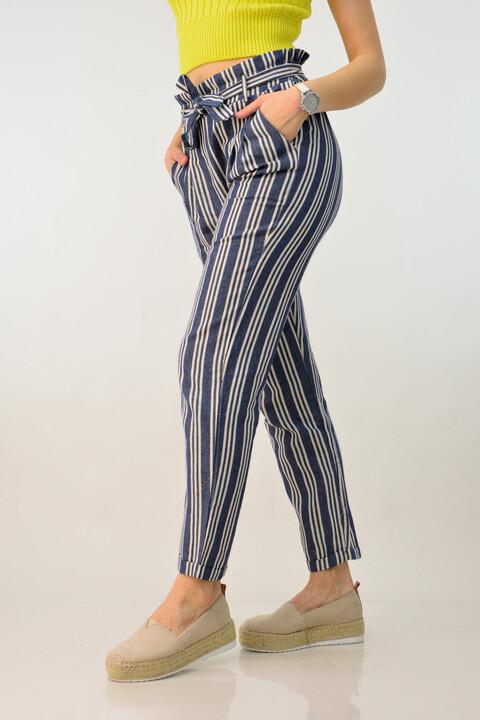 Παντελόνα ριγέ με λινή υφή - Μπλε Σκούρο