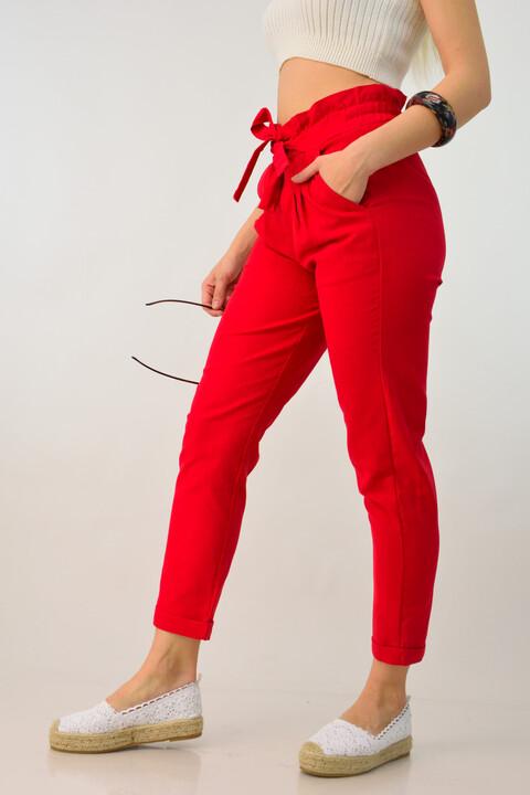 Λινή παντελόνα μέχρι τον αστράγαλο - Κόκκινο