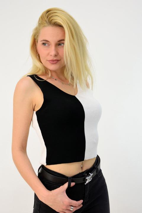 Γυναικείο πλεκτό τοπ - Μαύρο