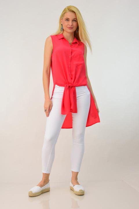 Αέρινη αμάνικη πουκαμίσα - Κοραλί