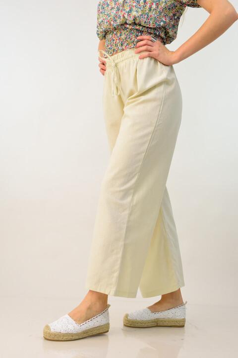 Λινή παντελόνα με κορδόνι - Εκρού
