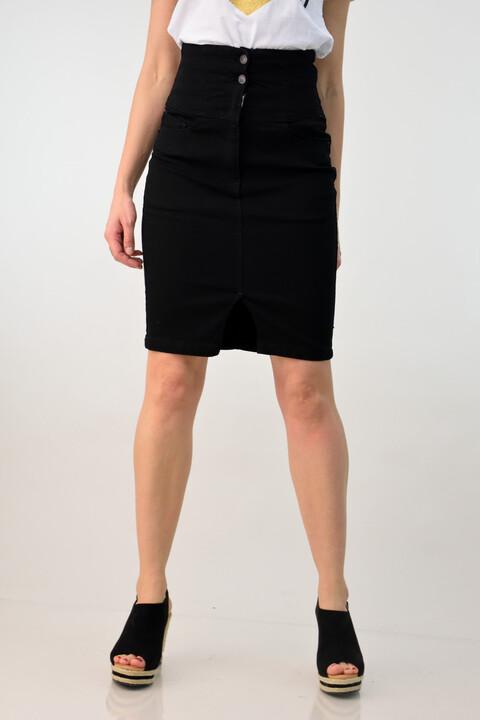Τζιν φούστα ψηλόμεση - Μαύρο