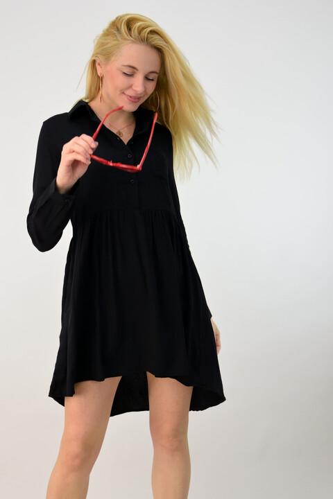 Γυναικεία πουκαμίσα ασύμμετρη - Μαύρο