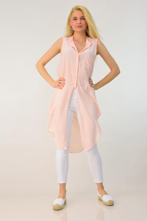 Γυναικείο μακρύ αμάνικο πουκάμισο - Απαλό Ροζ