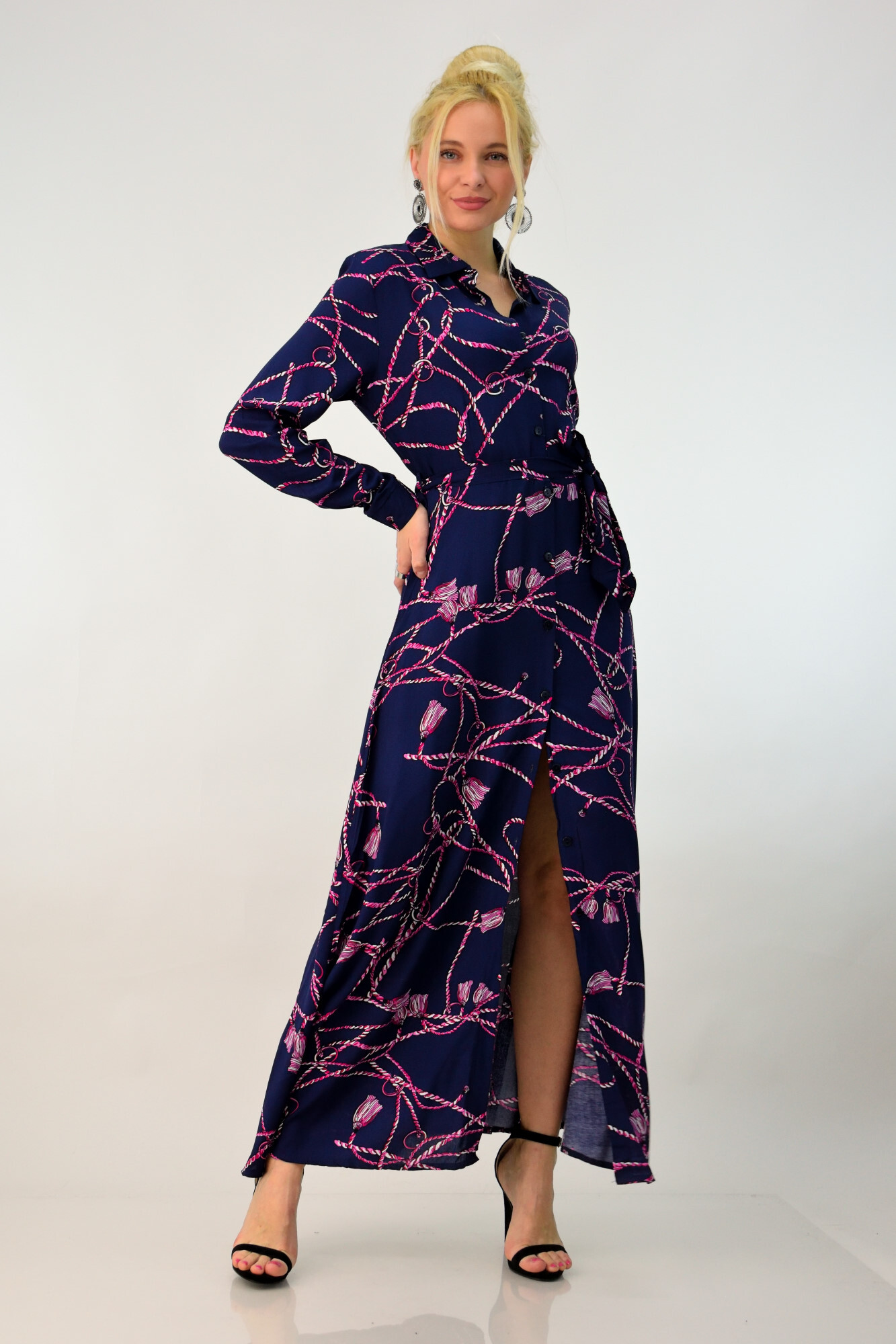 0fb9b07dd152 Φόρεμα με κουμπιά πουκάμισο