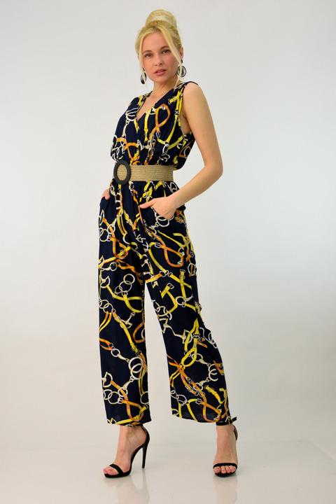 Ολόσωμη φόρμα με σχέδιο αλυσίδες - Μπλε Σκούρο