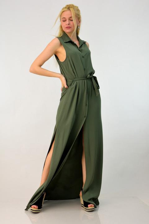 Φόρεμα με κουμπιά και ανοίγματα - Χακί