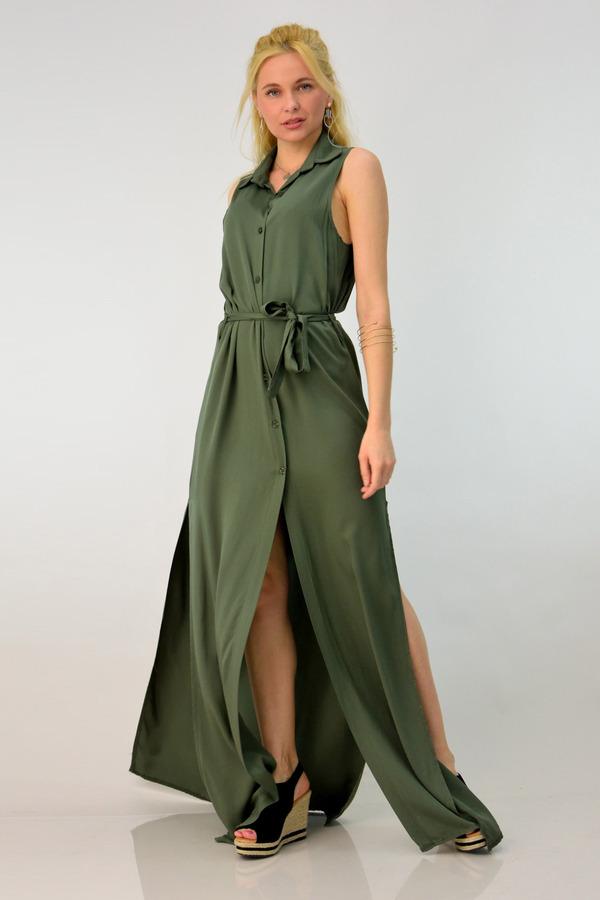 120376476243 Φόρεμα με κουμπιά και ανοίγματα