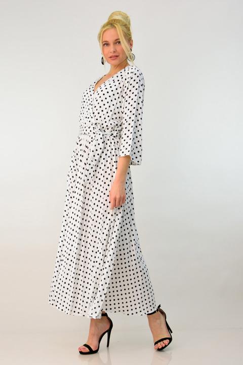 Γυναικείο φόρεμα με πιέτες - Λευκό