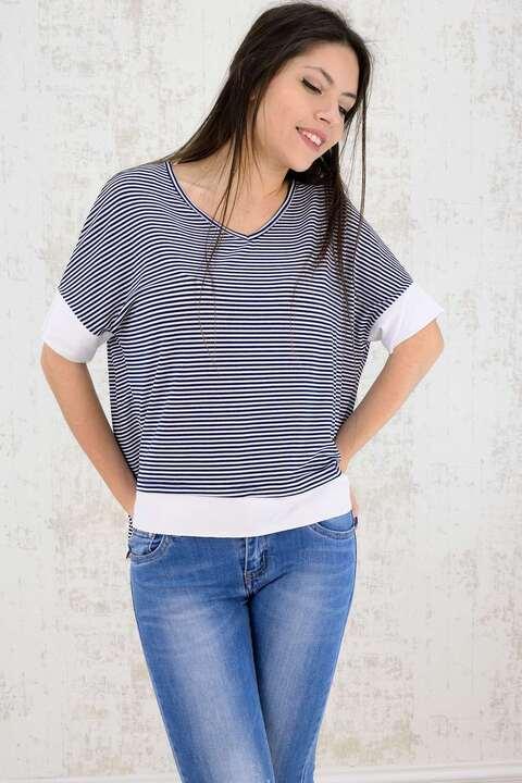 Γυναικεία μπλούζα ριγέ - Λευκό