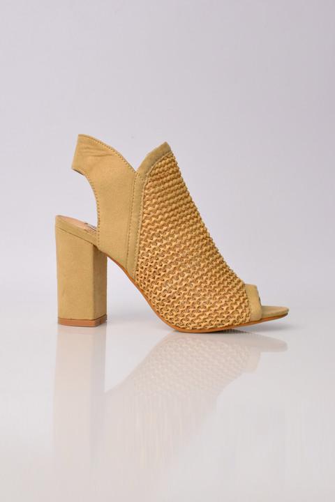 Ψηλοτάκουνα πέδιλα peep toe με διάτριτο σχέδιο - Μπεζ