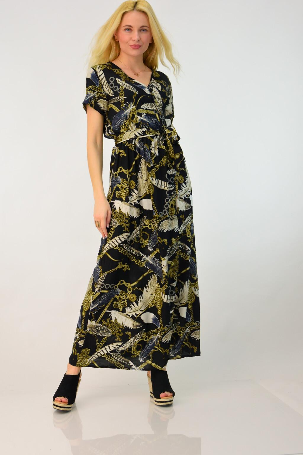 3c7a4a2cbfd4 Γυναικείο φόρεμα εμπριμέ με σκίσιμο