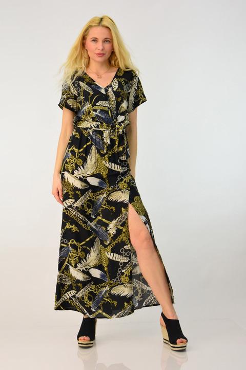 Γυναικείο φόρεμα εμπριμέ με σκίσιμο - Μαύρο